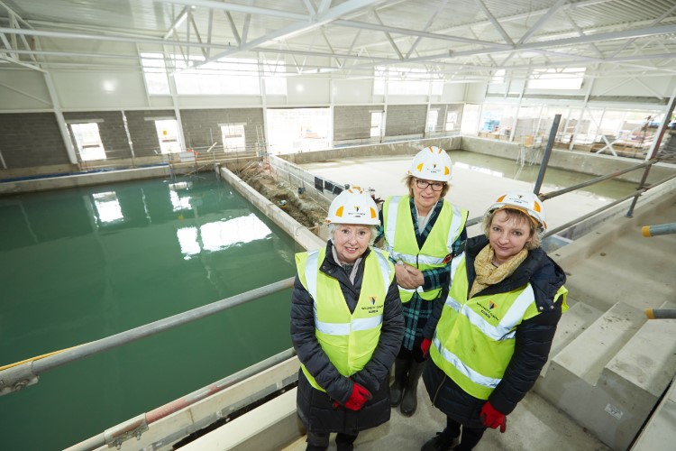 Cllr Jacquie Speight with Cllr Lorna Malkin and Celia Loughran on a tour of the new leisure facility in Pontefract.