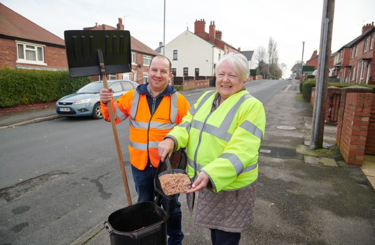 Cllr Matthew Morley with Snow Warden Denise Green