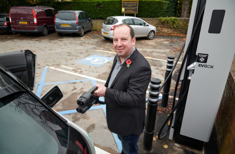 Cllr Morley at the EV chargepoint in Horbury