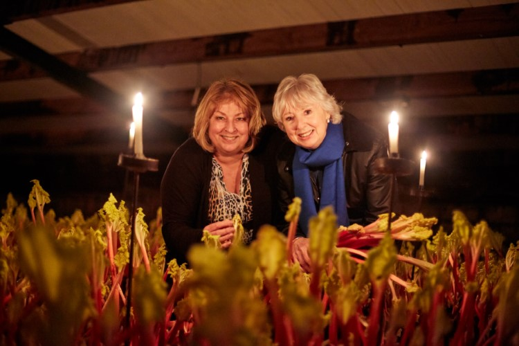 Janet Oldroyd and Cllr Jacquie Speight at Oldroyd's Rhubarb Forcing Sheds