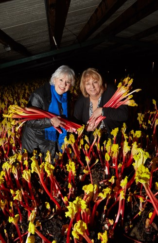 Cllr Jacquie Speight and Janet Oldroyd at Oldroyd's Rhubarb Forcing Sheds