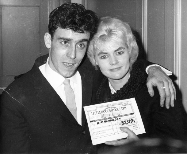 Keith and Vivian 'Viv' Nicholson with their cheque, Photo credit of 'The Football Pools'