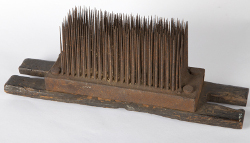 Metal comb for hand-drawing hemp used at Calvert Bros. Ropery on Jerry Clay Lane, Wrenthorpe