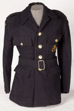World War II ambulance driver's uniform, worn by Miss Mickman. It was made by local Pontefract factory Cohen and Wilks Ltd. in 1